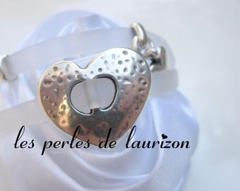 Silver heart bracelet and charms