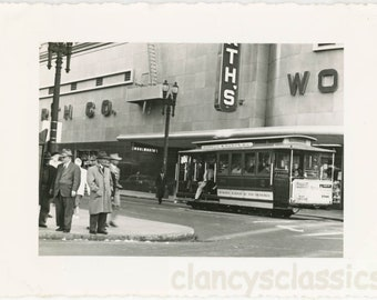 vintage photo 1955 Mid Century snapshot San Francisco Powell Trolley Car Woolworth