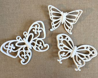White Butterflies, Vintage Butterfly Wall Decor, Vintage Butterfly Set, Butterfly Nursery Decor, Three Butterflies, White Butterfly Set