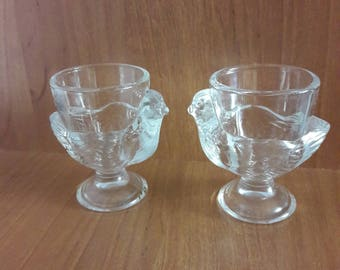 Vintage Glass Chicken egg holder, Set of 2, Glass decor, Made in  France, 1970's