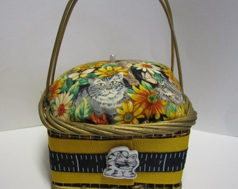 Basket Pin Cushion, 2 Choices, Cats with Flowers or Garden Flowers