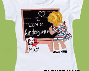 Kindergarten, Back To School, Girls clothing, Girls clothes,I Love Kindergarten, PreK Back to School Girl Tshirt by ChiTownBoutique.etsy
