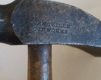 """Antique Cobblers hammer Evansville Tool Works, 4"""" head, 8"""" Hickory handle surface crack. clean head."""