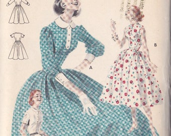 Misses Bouffant Skirted Dress Pattern ~ Butterick Number 7752 Size 14 ~ Cuffed Puffed Sleeves ~ Collar & Band ~ Cut But Complete