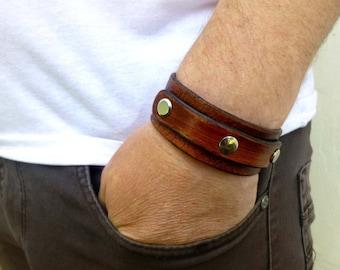 Leather bracelet mens Leather cuff men Custom leather bracelet mens  Brown leather bracelet mens Black leather bracelet mens