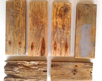 Reclaimed Rustic Driftwood Planks, FREE US SHIPPING, Six Pieces