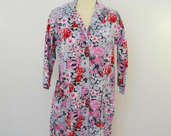Vintage SAKS FIFTH AVENUE floral house dress cotton casual dress