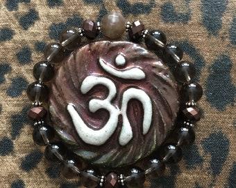 Divine Goddess Smoky Quartz and peach moonstone stretch bracelet