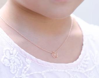 Flower Girl Gift, Flower Girl Jewelry, Rose gold Necklace, Rose Gold Flower Girl Necklace, Girls Initial Necklace, Flower Necklace Gift