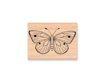 HAPPY MOTH Rubber Stamp~Moths~Butterfly~Bug~Insect~Summer Nights~Night Light~Moth to Flame~Mountainside Crafts~wood mounted (34-25)