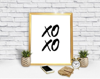 xoxo poster - hugs and kisses poster - love - printable poster - decor decoration - Instant Download Poster