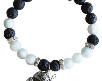 Aquamarine and Lava Stone Stretch Bracelet for Aromatherapy Essential Oils