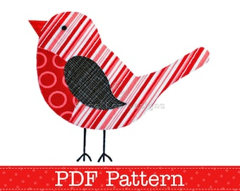 Robin Applique Template PDF Pattern Christmas Robin Bird Animal Applique Design by Angel Lea Designs, Instant Download Digital Pattern