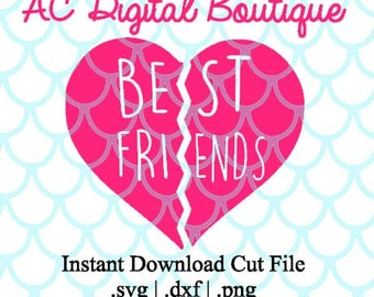 Best Friends Heart Digital Cut File--Instant Download--SVG, DXF, PNG Files for Cutting Machine Software