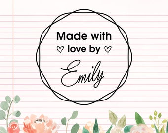 Hand made with love stamp, Created by Wood Stamp, Self Inking Stamp, Custom Rubber Stamp, Handmade Cards, Party Invitation Stamp