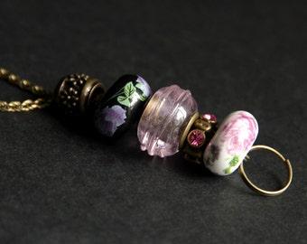 Pink Lanyard. Badge Holder. Roses Lanyard. Bronze Lanyard. Badge Lanyard. Beaded Lanyard. Rhinestone Badge Leash. Id Badge Necklace.