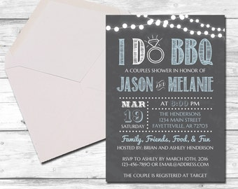 I Do BBQ, Couples Shower, Wedding Shower, I Do Bbq Invitation, Barbecue, Chalkboard, Country, Rustic, Bridal Shower, Printable 5x7