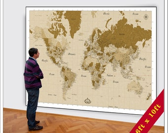 Giant world map etsy big world map huge map of the world 6xft x 10ft map large world map sepia gumiabroncs Gallery