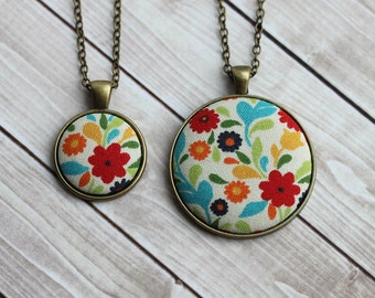 Retro Jewelry, Boho Floral Fabric Pendant, Cute Necklace