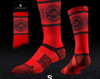 Fortified Nation Strideline Crew Socks - Red