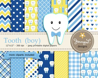 Tooth Boy Digital Paper and Clipart, Dental Care, Teeth, Toothpaste, Toothbrush for Baby Shower, Birthday  and Scrapbooking Paper Party