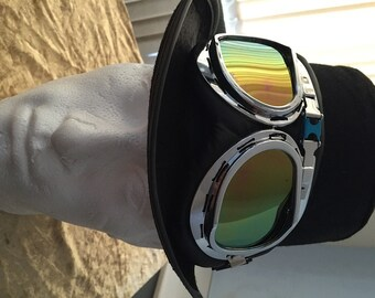 Steampunk Top Hat, With flying Goggles, Retro.