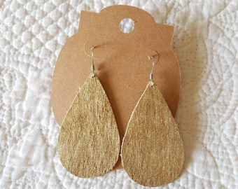 Genuine Leather Teardrop Earrings in Brushed Gold