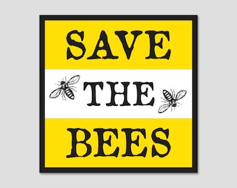 """Save The Bees Bumper Sticker Decal 4"""""""