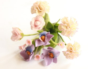 Miniature Polymer Clay Supplies Sweet Orchids Flowers Bunch