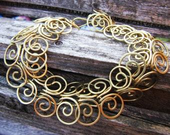 Solid Brass Egyptian Coil Bracelet - Golden Swirl Chain Bracelet