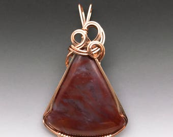Red Flame Plume Agate 14k Pink Rose Gold-Filled Wire Wrapped Pendant - Ready to Ship!