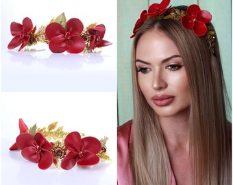 Red Headpiece, Red crown, Red headband Flower wedding crown, Woodland headpiece, Bridal flower crown, Bridal halo, Fairytale wedding