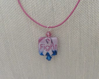 Pink Blue Fight Cancer Awareness Decoupage Pendant Cord Sterling