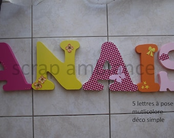 wooden, wooden name, letter to put name to put personalized rhinestone