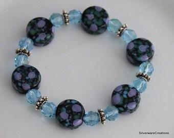 Lampwork Bead Bracelet - Black Green Blue & Lavender Usa Lampwork Tab Beads and SWAROVSKI Crystal Bracelet, Made in Usa, Ready to Ship