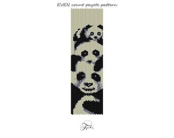 peyote pattern handmade necklace 3 panda bears tutorial