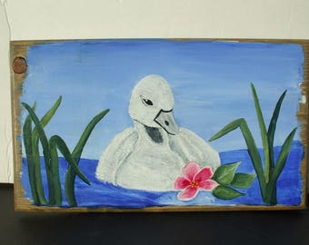 Baby Swan cygnets home decor wall hanging Hand painted wood