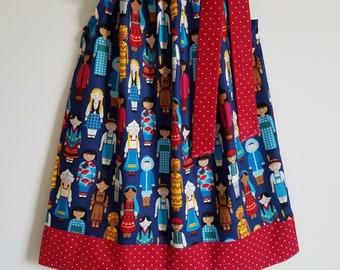Pillowcase Dress, Its a Small World Dress, Its a Kids World by Robert Kaufman, Baby Dress, Toddler Dress, Girls Dresses, Diversity Clothes