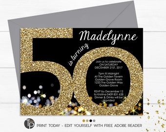 50th Birthday Invitation, Instant Download Invitations, Gold 50th Birthday Invitation, Gold Glitter 50th Invitation, Adult Invitation, 50th