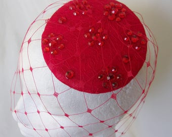 Red Crystal Fascinator Vintage Veiled Headpiece - A Retro Style Lace Percher Disc with Crystals Merry Widow Blusher Veil - Ready Made