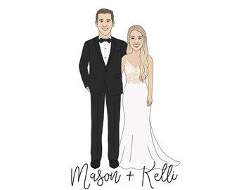 Wedding Portrait - Paper Anniversary, Couples Portrait, Wedding Illustration - Anniversary Gift, Wedding Gift, Custom Wedding Portrait