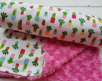 Minky baby blanket-Personalized girls pink swirl minky baby blanket in cactus print-customized baby blanket with applique name