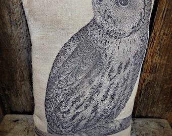 Primitive Owl Pillow   Owl decor   Printed Pillow   Folk Art Owl   Owl Accent Pillow