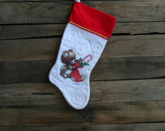 Vintage Green, Red & White Christmas Bear Christmas Stocking