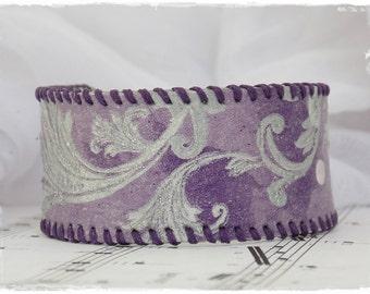 Leather Cuff Bracelet, Silver Swirls Bracelet, 3rd Anniversary Bracelet Cuff, Gothic Leather Cuff, Victoriana Bracelet Wristband