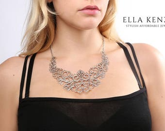 Silver Statement Necklace, Silver Bib Necklace, Silver Collar Necklace, Bridal Statement Necklace Silver, Wedding Statement Necklace