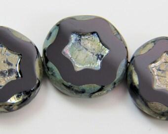 Black Coin Star 17MM Opaque Silver Travertine Picasso Premium Czech Glass 4 Beads PTCSTARRD005