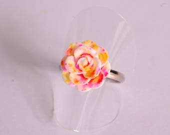 Orange and yellow 3D flower ring