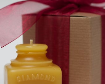 "Gift wrapped - Beeswax Candle - ""Diamond"" Ink Well - Late 1800's"