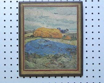 Landscape with Haystack by Van Gogh Decopaged On Wood Wall Hanging